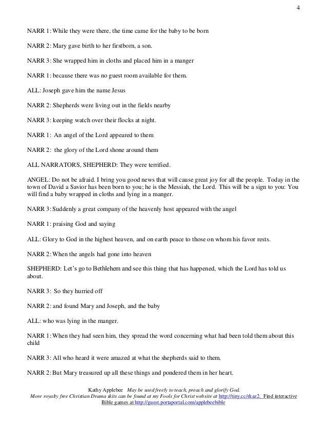 The Birth of Jesus Reader's theater script