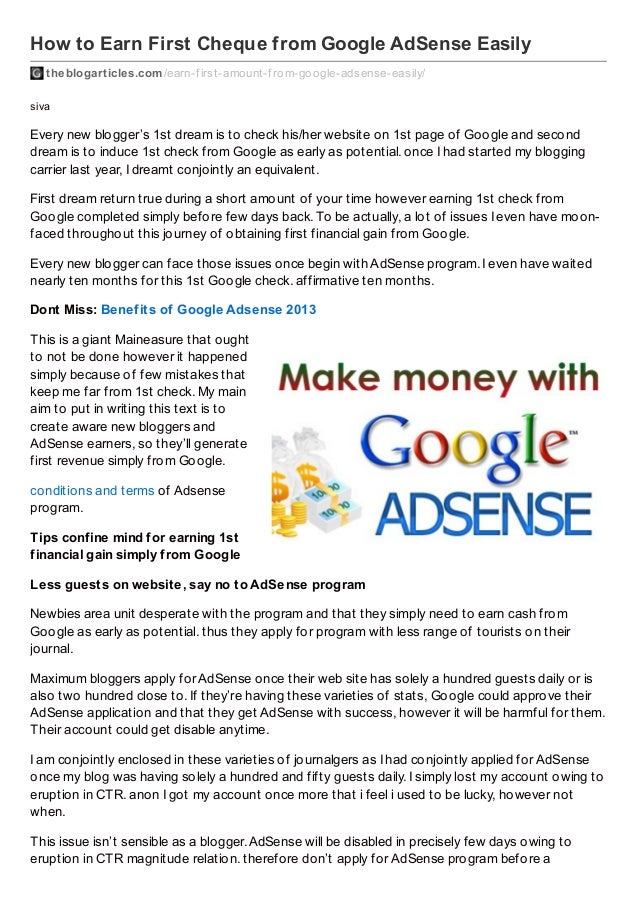 How to Earn First Cheque from Google AdSense Easily theblogarticles.com /earn-f irst-amount-f rom-google-adsense-easily/ s...