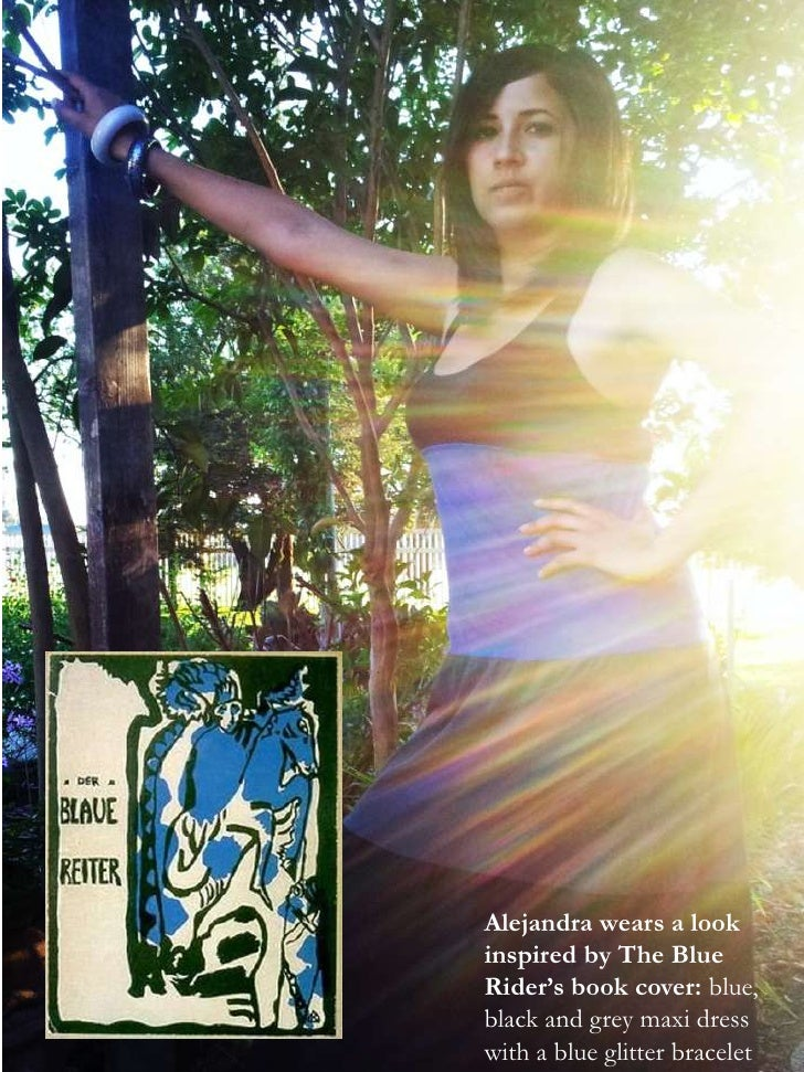 Alejandra wears a lookinspired by The BlueRider's book cover: blue,black and grey maxi dress  1with a blue glitter bracelet