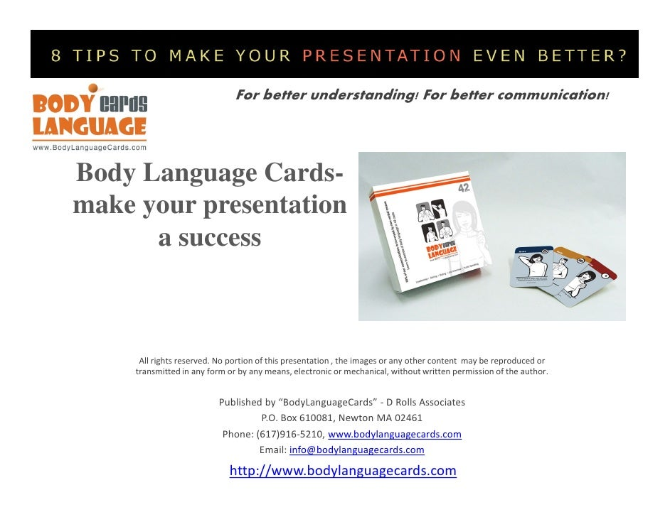 For better understanding! For better communication!Body Language Cards-make your presentation      a success      All righ...