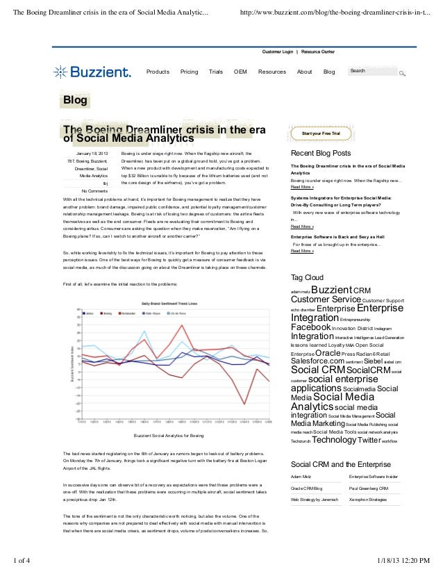 The Boeing Dreamliner crisis in the era of Social Media Analytic...                                               http://w...