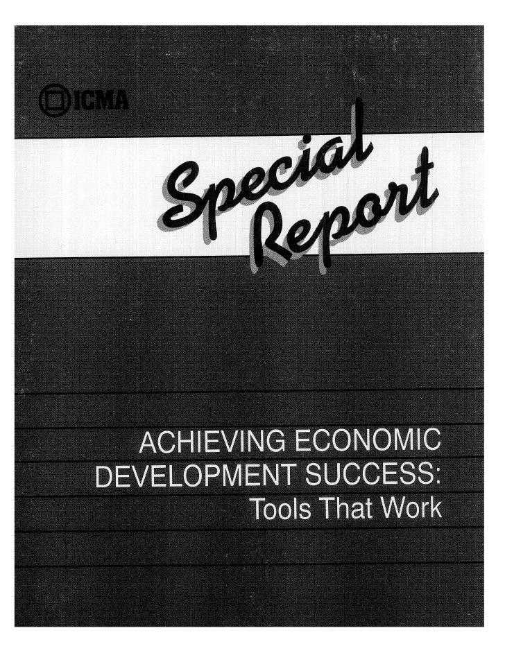 Achieving Economic Development Success: Tools That Work