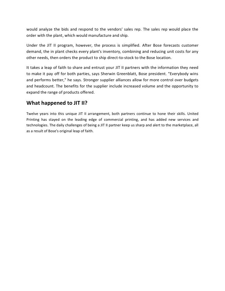 Bose Corp.: The JIT II Program (A) Case Solution And ...