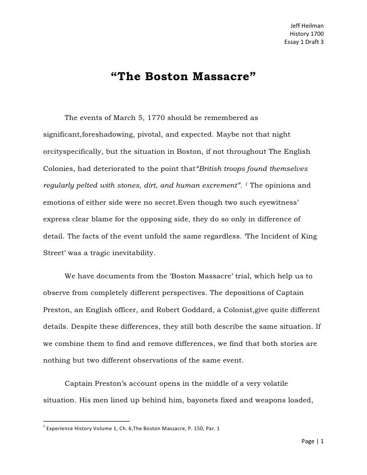 analytical essay boston massacre Analytical essay the boston massacre is one of the most controversial events in  american history that occurred in boston before the american revolution.