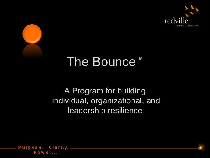 The Bounce™                       A Program for building                   individual, organizational, and                ...