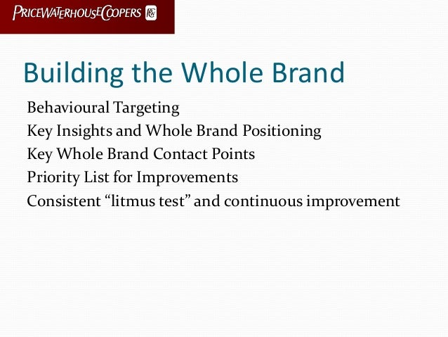 Building the Whole Brand Behavioural Targeting Key Insights and Whole Brand Positioning Key Whole Brand Contact Points Pri...