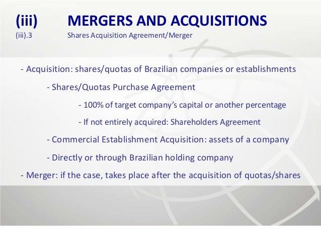 (iii)          MERGERS AND ACQUISITIONS(iii).3        Shares Acquisition Agreement/Merger  - Acquisition: shares/quotas of...