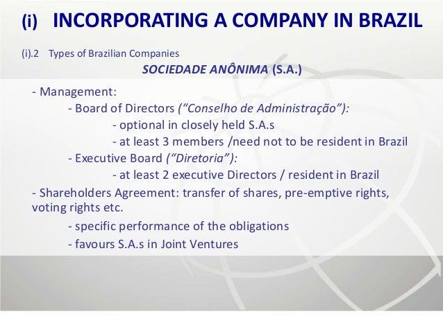(i)   INCORPORATING A COMPANY IN BRAZIL(i).2 Types of Brazilian Companies                          SOCIEDADE ANÔNIMA (S.A....