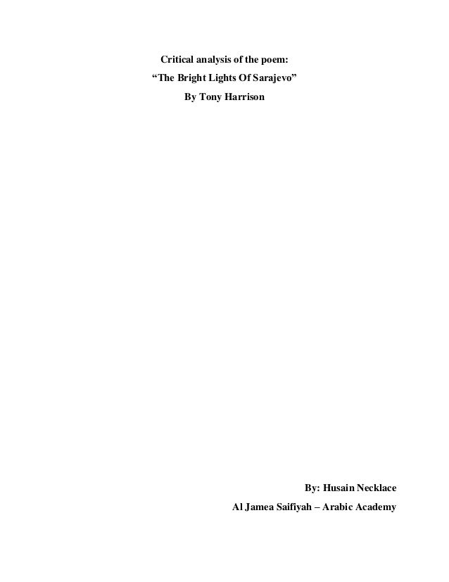 Critical analysis of the poem the bright lights of Sarajevo
