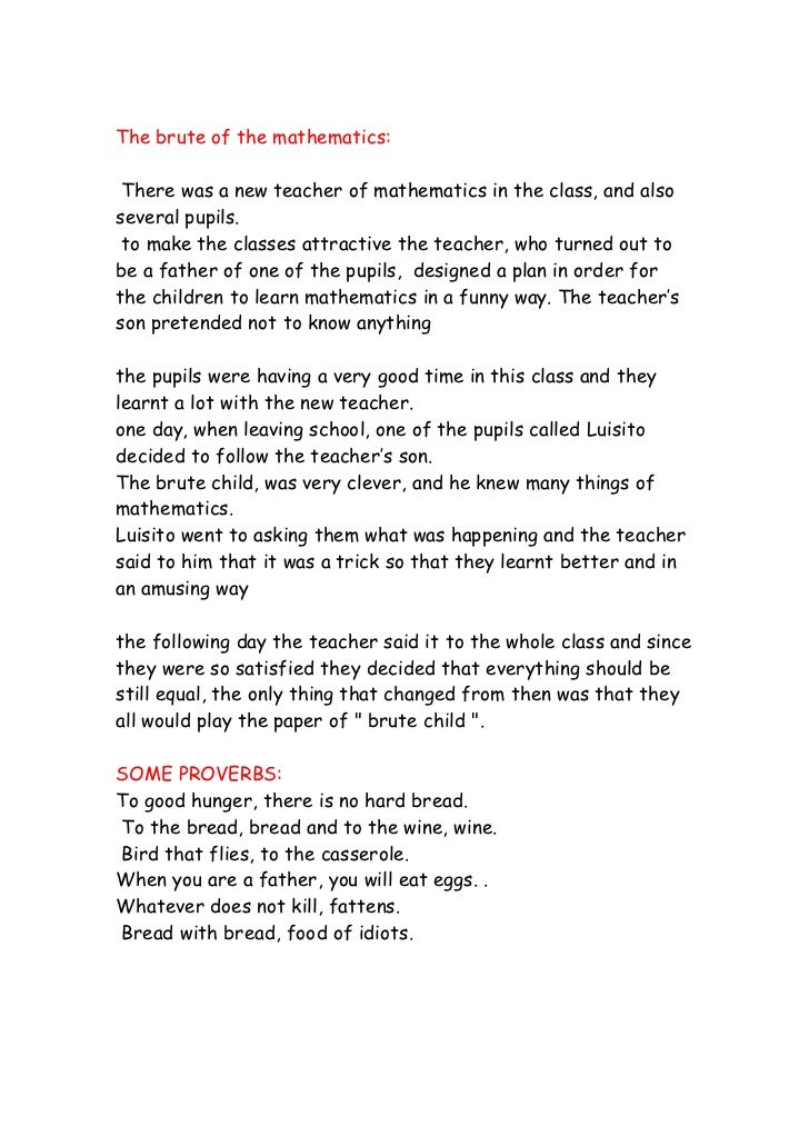 The brute of the mathematics: There was a new teacher of mathematics in the class, and alsoseveral pupils. to make the cla...