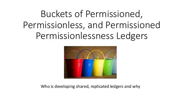 Buckets of Permissioned, Permissionless, and Permissioned Permissionlessness Ledgers Who is developing shared, replicated ...