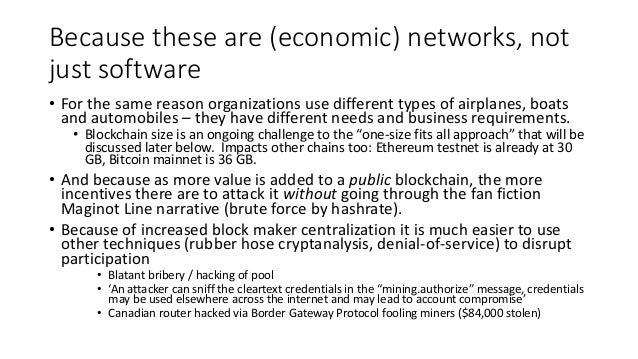 Permissioned permissionlessness blockchain Mostly known DMMS validators Neither censorship resistant nor trade finality Be...