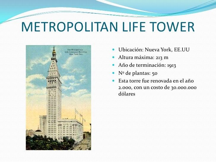 METROPOLITAN LIFE TOWER<br />Ubicación: Nueva York, EE.UU<br />Altura máxima: 213 m<br />Año de terminación: 1913<br />Nº ...