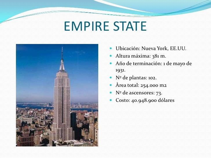 EMPIRE STATE<br />Ubicación: Nueva York, EE.UU.<br />Altura máxima: 381 m.<br />Año de terminación: 1 de mayo de 1931.<br ...