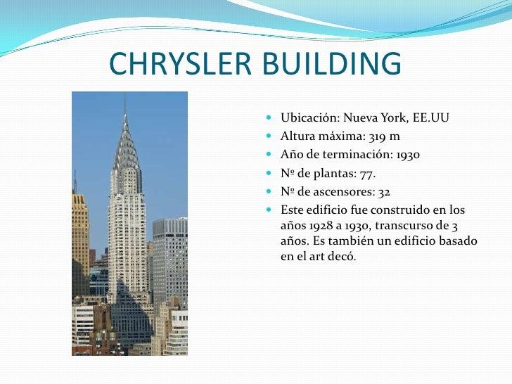 CHRYSLER BUILDING<br />Ubicación: Nueva York, EE.UU<br />Altura máxima: 319 m<br />Año de terminación: 1930<br />Nº de pla...