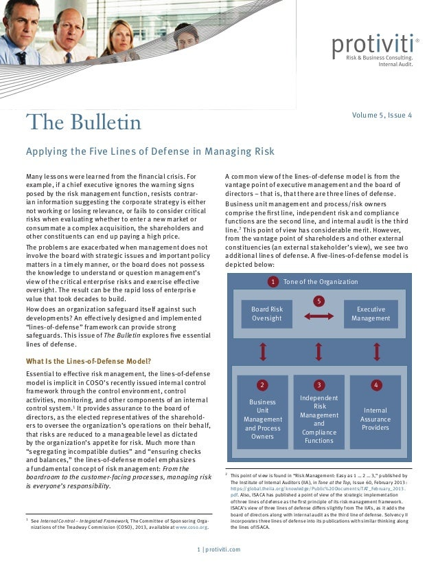 A common view of the lines-of-defense model is from the vantage point of executive management and the board of directors –...