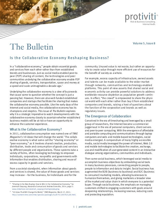 1   protiviti.com The Bulletin Is the Collaborative Economy Reshaping Business? community. Unused value is not waste, but ...