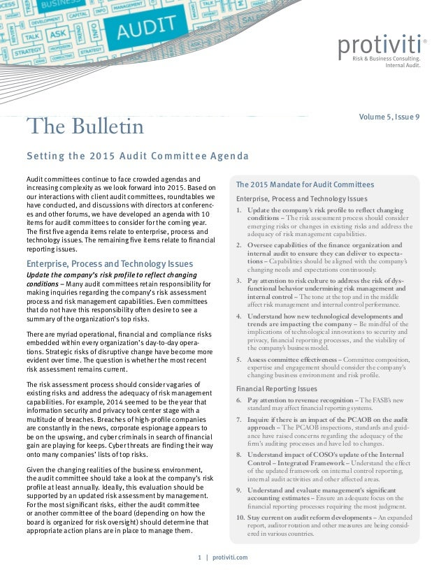 1 | protiviti.com The Bulletin Setting the 2015 Audit Committee Agenda The 2015 Mandate for Audit Committees Enterprise, P...