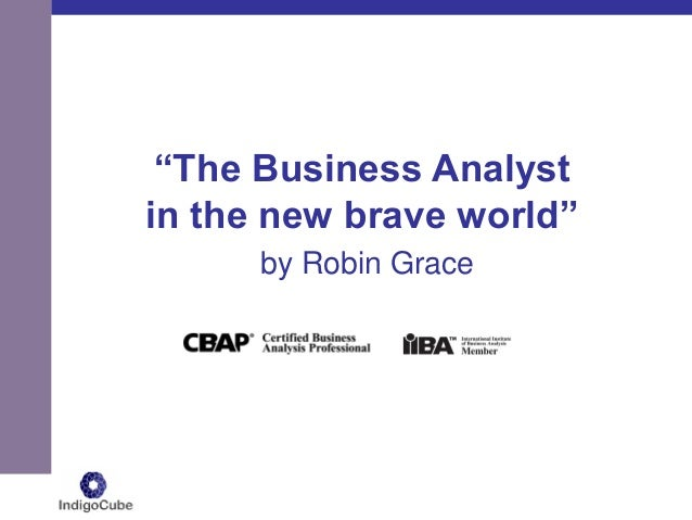 """The Business Analyst in the new brave world"" by Robin Grace"