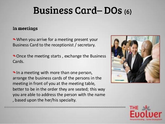 The business card principles part 2 etiquette dosdonts 11 reheart Images