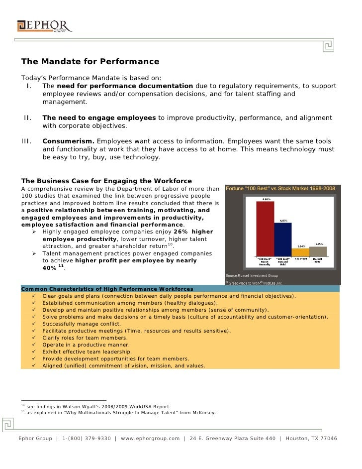 The Mandate for PerformanceToday's Performance Mandate is based on: I.   The need for performance documentation due to reg...