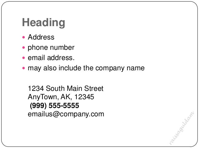 The business letter notations 5 heading address phone number email spiritdancerdesigns Image collections