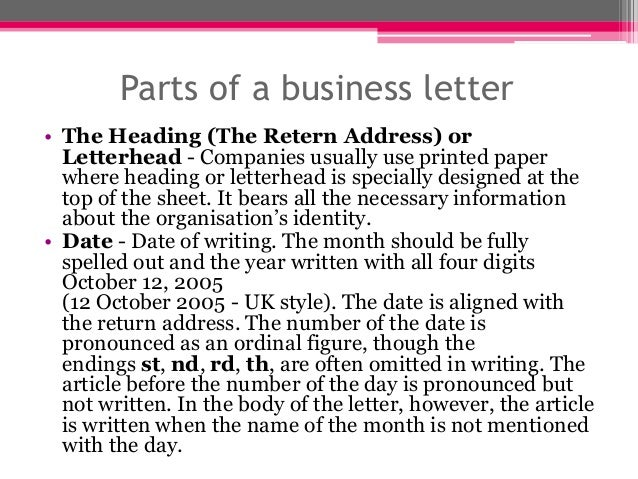 The business letter – Parts of a Business Letter