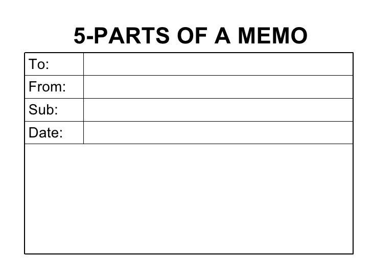 5 PARTS OF A MEMO Date: Sub: From: To: ...