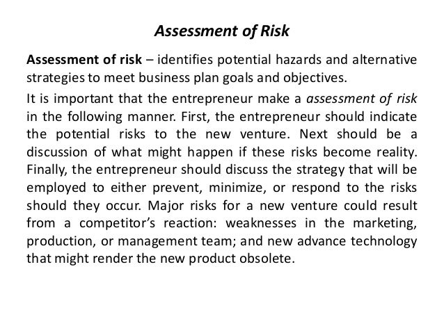 Do risk analysis business plan