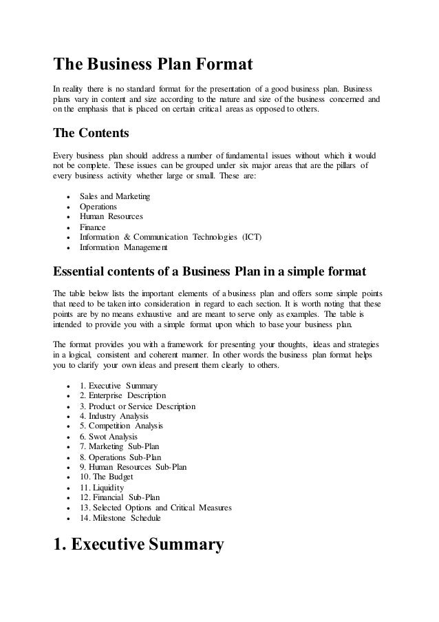 The Business Plan Format In Reality There Is No Standard Format For The  Presentation Of A ...