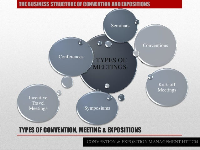 TYPES OF CONVENTION, MEETING & EXPOSITIONS TYPES OF MEETINGS Conferences Conventions Kick-off Meetings Symposiums Seminars...