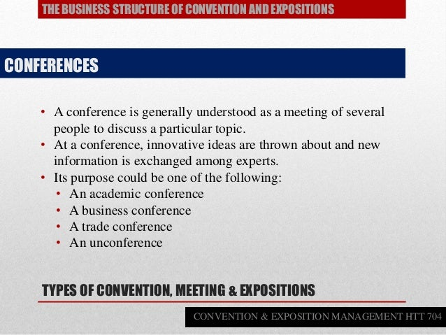 • A conference is generally understood as a meeting of several people to discuss a particular topic. • At a conference, in...