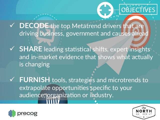 OBJECTIVES   ü DECODE the top Metatrend drivers that are  driving business, government and causes ahead  ...