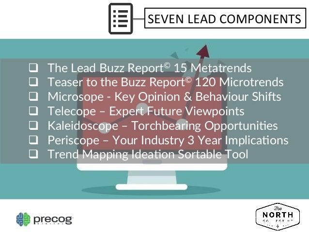 SEVEN  LEAD  COMPONENTS   q The Lead Buzz Report© 15 Metatrends  q Teaser to the Buzz Report© 120 Mi...