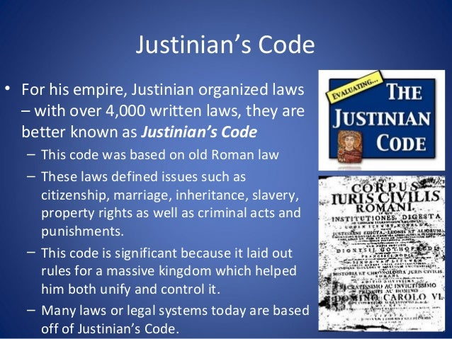 "justinian code Code of justinian, latin codex justinianus, formally corpus juris civilis (""body  of civil law""), the collections of laws and legal interpretations developed under."
