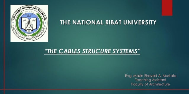 """THE NATIONAL RIBAT UNIVERSITY Eng. Mazin Elsayed A. Mustafa Teaching Assistant Faculty of Architecture """"THE CABLES STRUCUR..."""