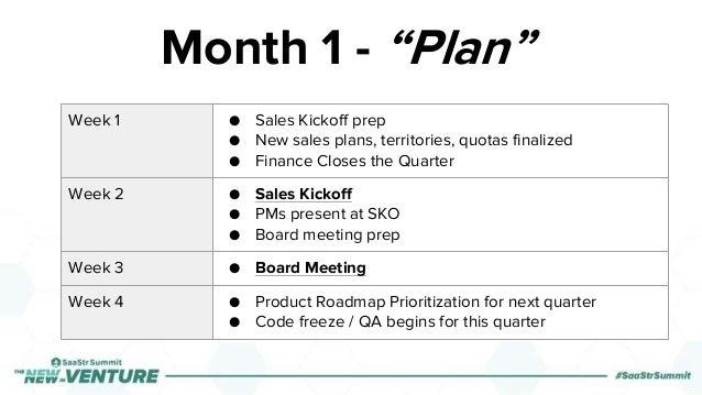 Week 1 ● Sales Kickoff prep ● New sales plans, territories, quotas finalized ● Finance Closes the Quarter Week 2 ● Sales K...
