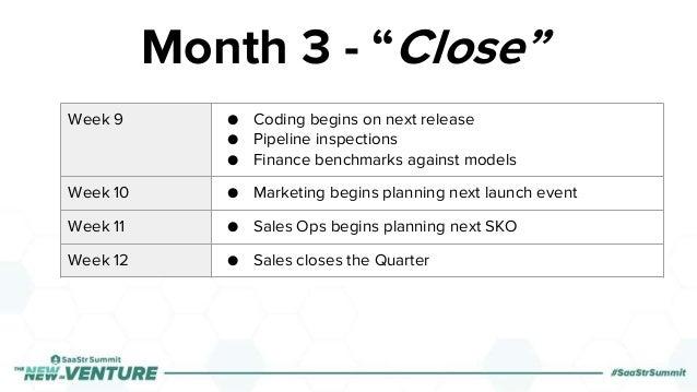 Week 9 ● Coding begins on next release ● Pipeline inspections ● Finance benchmarks against models Week 10 ● Marketing begi...