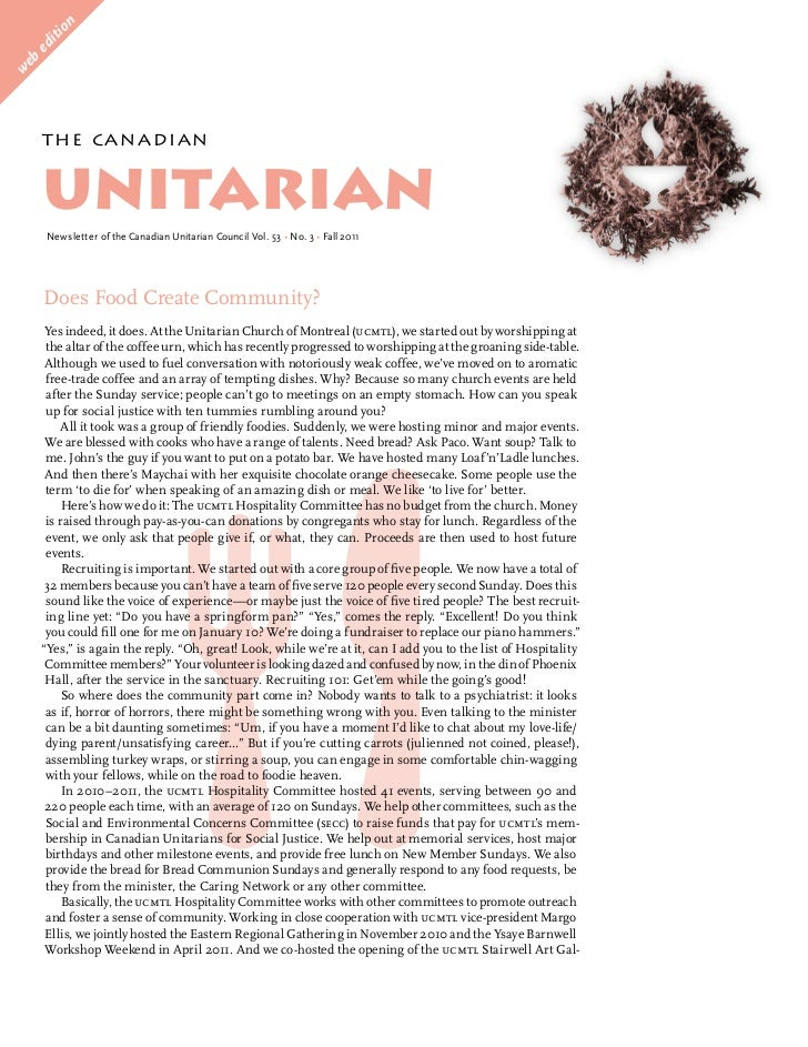 on    it i  ed   bwe       the can adian       unitarian        Newsletter of the Canadian Unitarian Council Vol. 53 • No....
