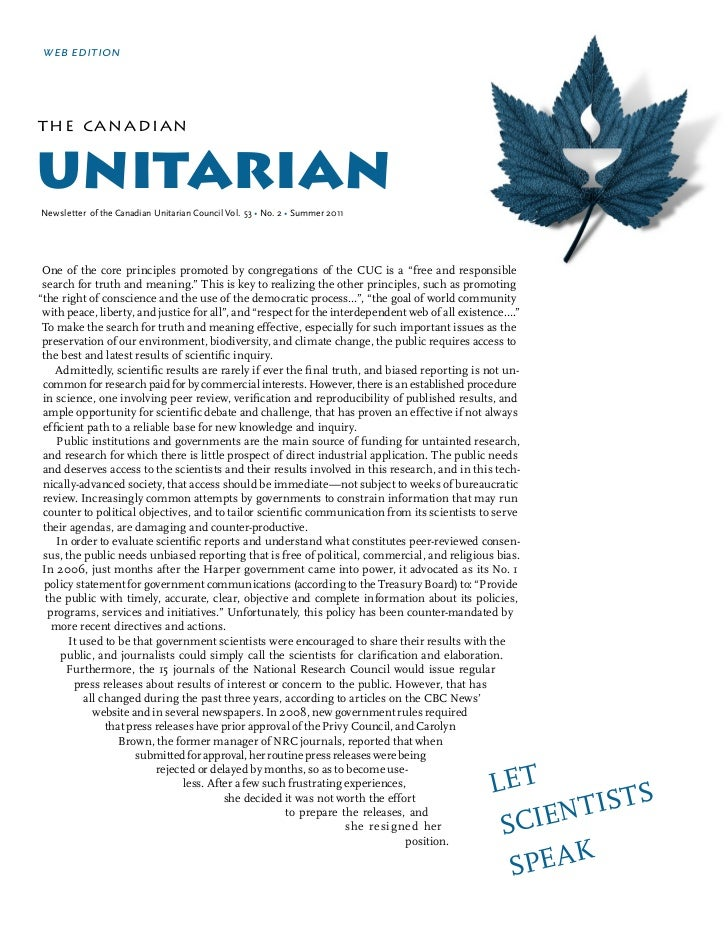 web editionthe can adianunitarianNewsletter of the Canadian Unitarian Council Vol. 53 • No. 2 • Summer 2011 One of the cor...