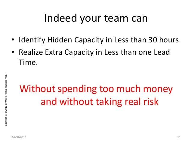 Copyrights©2013CVMark.AllRightsReserved. Indeed your team can • Identify Hidden Capacity in Less than 30 hours • Realize E...