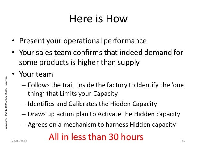 Copyrights©2013CVMark.AllRightsReserved. Here is How • Present your operational performance • Your sales team confirms tha...