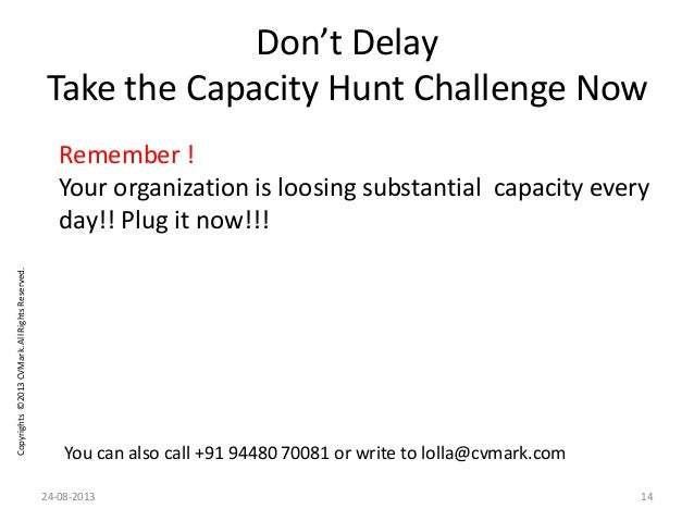 Copyrights©2013CVMark.AllRightsReserved. Don't Delay Take the Capacity Hunt Challenge Now You can also call +91 94480 7008...