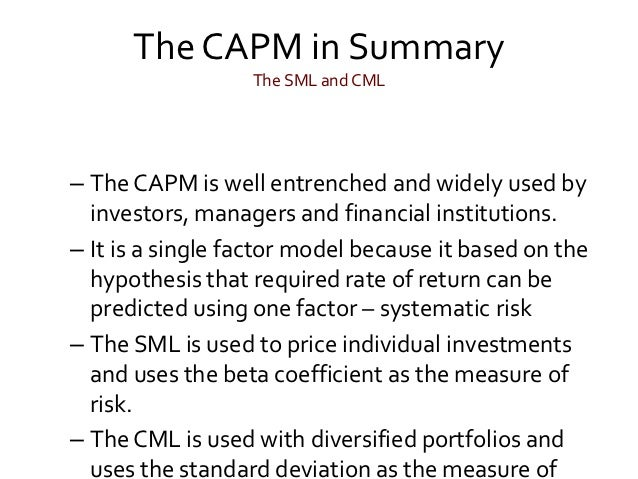 difference between capm and apt Both the capital asset pricing model and the arbitrage pricing theory rely on the proposition that a no-risk, no-wealth investment should earn, on average, no return explain why this should be the case, being sure to describe briefly the similarities and differences between capm and apt.