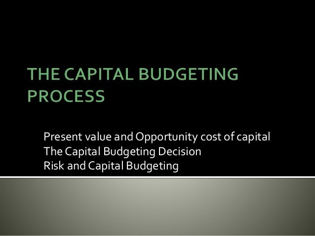 Present value and Opportunity cost of capital The Capital Budgeting Decision Risk and Capital Budgeting