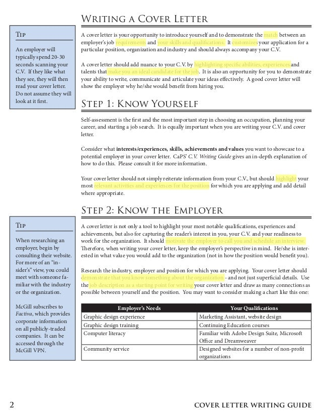 the caps guide to writing a cover letter