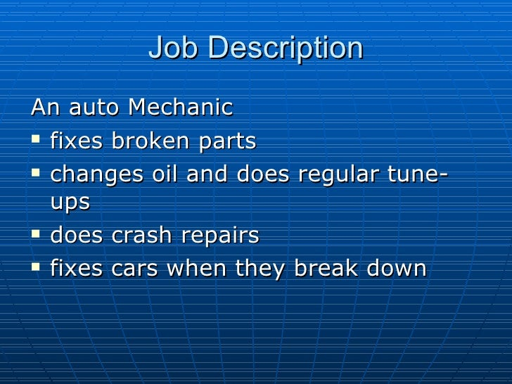 the career of auto mechanic
