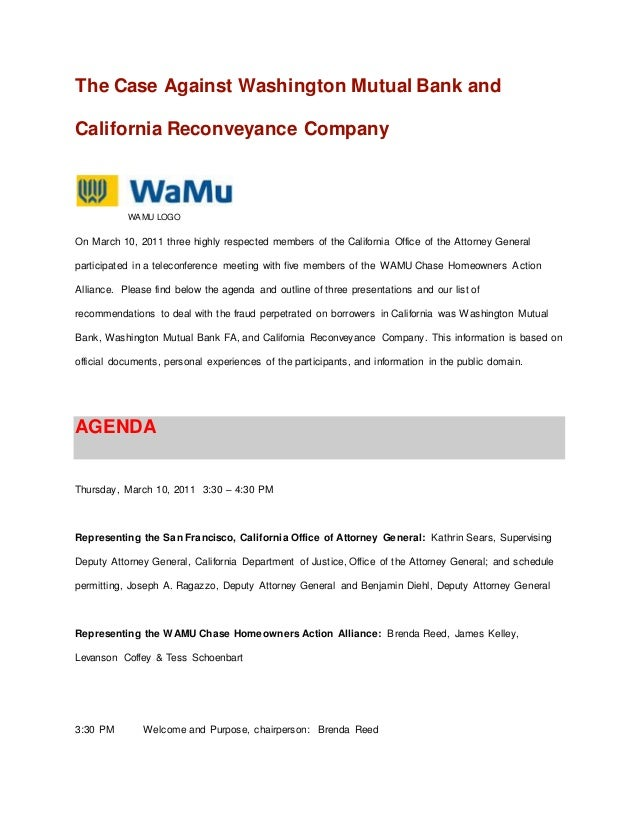 The Case Against Washington Mutual Bank And California Reconveyance C