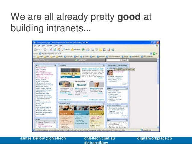 We are all already pretty good at building intranets... James Dellow @chieftech chieftech.com.au digitalworkplace.co