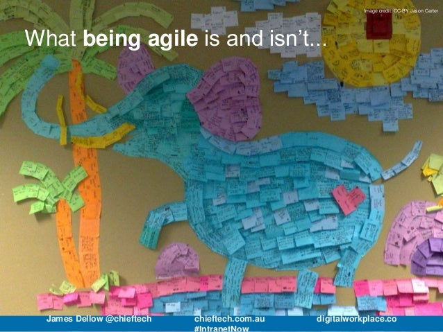 Image credit: CC-BY Jason Carter What being agile is and isn't... James Dellow @chieftech chieftech.com.au digitalworkplac...
